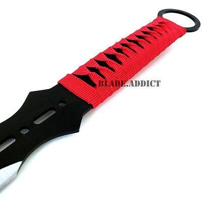 "28"" RED NINJA SWORD Full Tang Machete Tactical Blade Katana 2PCS Throwing Knife 4"