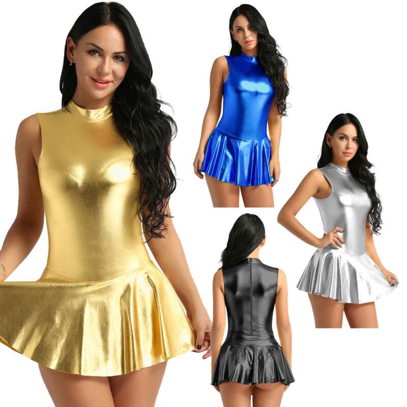 Damen Glänzende A-Linie Kleid Bodysuit Jumpsuit Catsuit Clubwear Partykleid Sexy 2