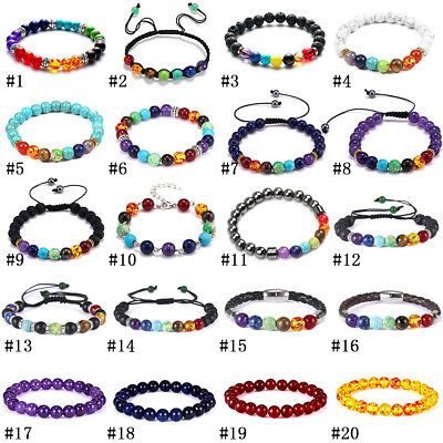 Natural Stone Bead Bracelet Men Women Tiger Eye Turquoise Bangle Jewelry Gift 5