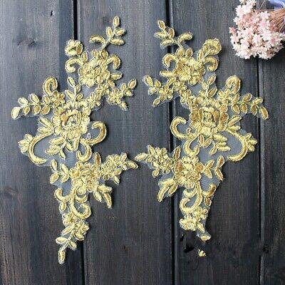 1Pair Embroidered Flower Lace Applique Motif Trim Wedding Dress Sew Crafts DIY 1 4