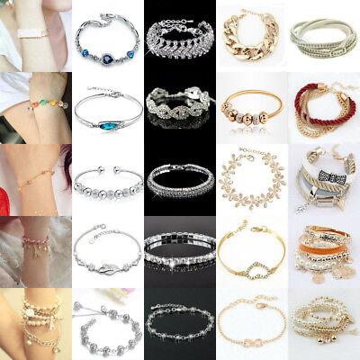 Fashion Flower Crystal Rhinestone Gold Silver Chain Bangle Bracelet Jewelry 2