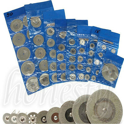 10pcs Diamond Saw Blade Cutting Disc Rotary Wheel Grinding +2 Mandrel Dremel 3