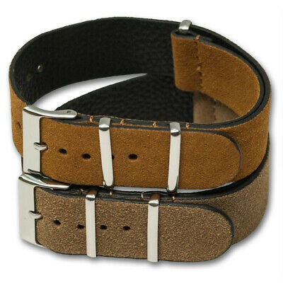 Genuine SUEDE Leather Watch Strap Band NATO G10 Military MoD Zulu brown tan 5