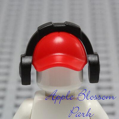37b2a53446f ... NEW Lego Minifig RED BASEBALL CAP - City Sports Hat Head Gear w Music  Ear