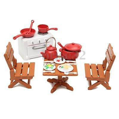 Plastic Dining Table Miniature Kitchen Doll House Furniture Toy Set Gifts 2
