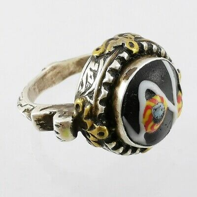 Ancient Lovely Mosaic Gabri Glass Half Bead Ring 925 Solid Silver #A46 3