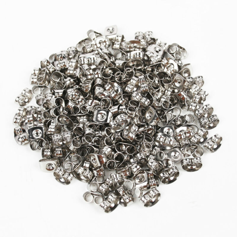 200pcs Flat Stud Earring Post 6/8mm Pads and backs Hypoallergenic Surgical Steel 4