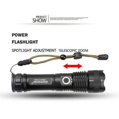 900000 Lumens Zoomable XHP50 5 Modes LED USB Rechargeable 18650 Flashlight Torch 4