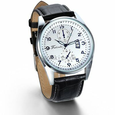 Leather Band Round Quartz Analog Elegant Classic Casual Men's Wrist Watch New 2