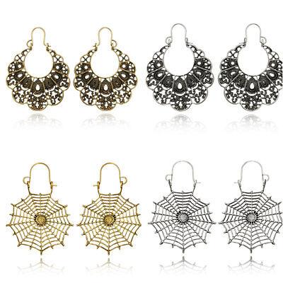 Retro Vintage Antique Mesh Hollow Out Filigree Geometric Hoop Earrings For Women 8