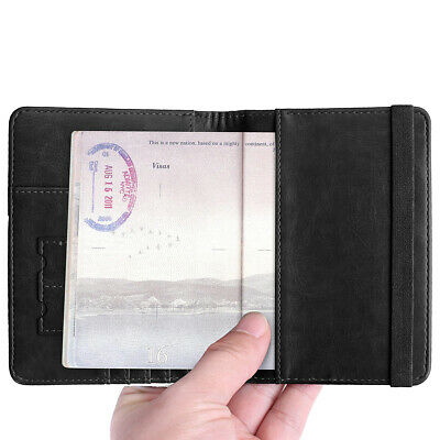 RFID Blocking Slim Leather Travel Passport Holder Credit Card Wallet Case Cover 4