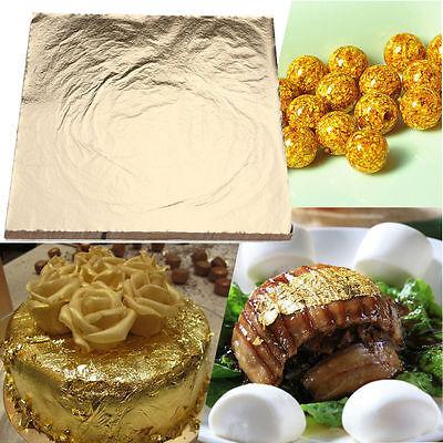 100sheets Imitation Gold Silver Copper Leaf Foil Paper Gilding Art Craft 14x14cm 2
