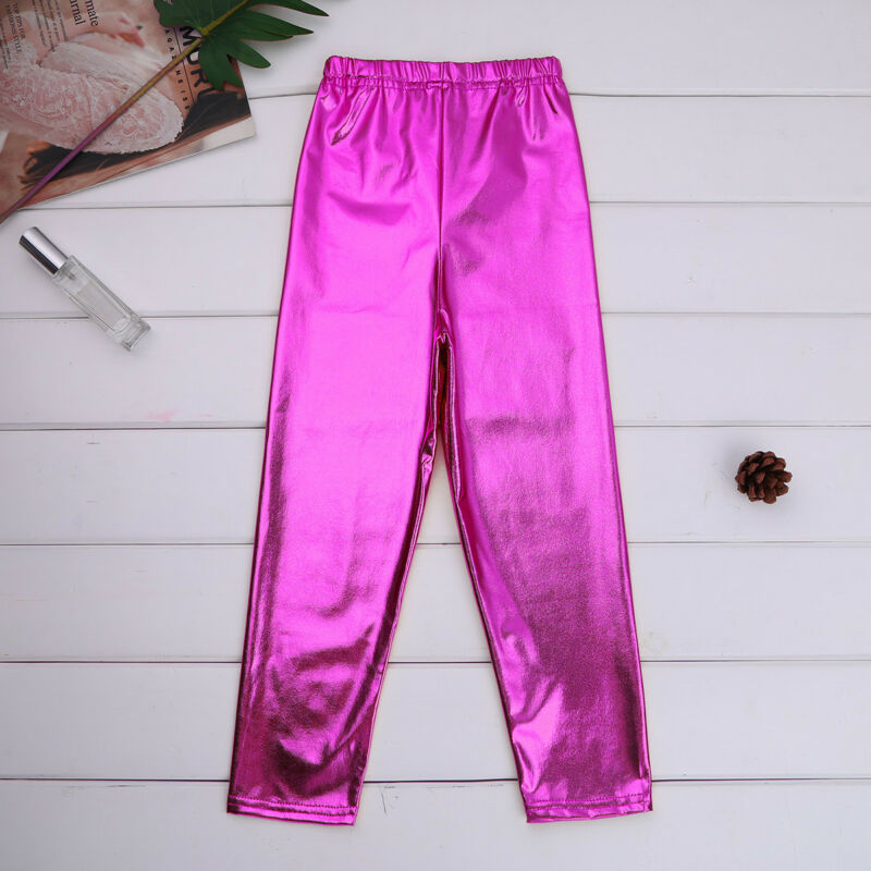 Shiny Metallic Kids Girls Skinny Pants Gymnastics Dance Crop Top Club Leggings 5