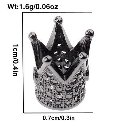 Charm Black and White Zircon Gemstones Pave King Crown Bracelets Connector Beads 10