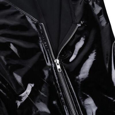 Damen Body Wetlook Einteiler Bodysuit Zipper Jumpsuits Top Dessous Clubwear Gogo 9