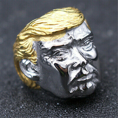 Silver Donald Trump Ring Gold US President Make America Great Again Great Leader 12