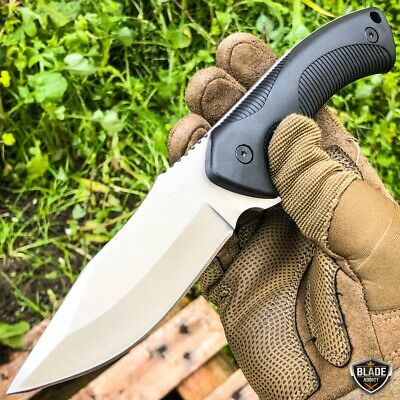 "9"" Fixed Blade Tactical Hunting Knife with Paddle ABS Belt Loop Holster Sheath 3"