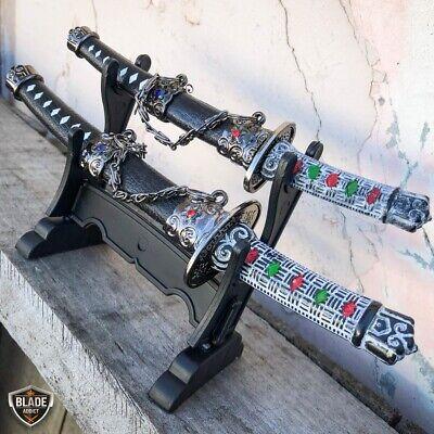 2PC Japanese Samurai Sword Fixed Blade Letter Opener Katana Knife w Stand NEW 3