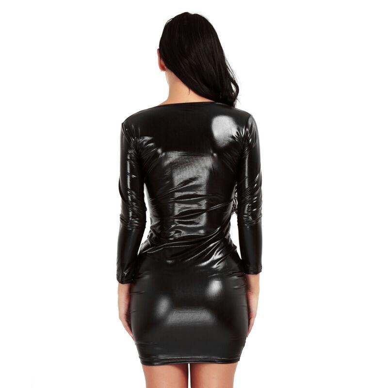 Damen Wetlook Bodycon Bandage Kleid Langarm V-Ausschnitt Minikleid Partykleid 3