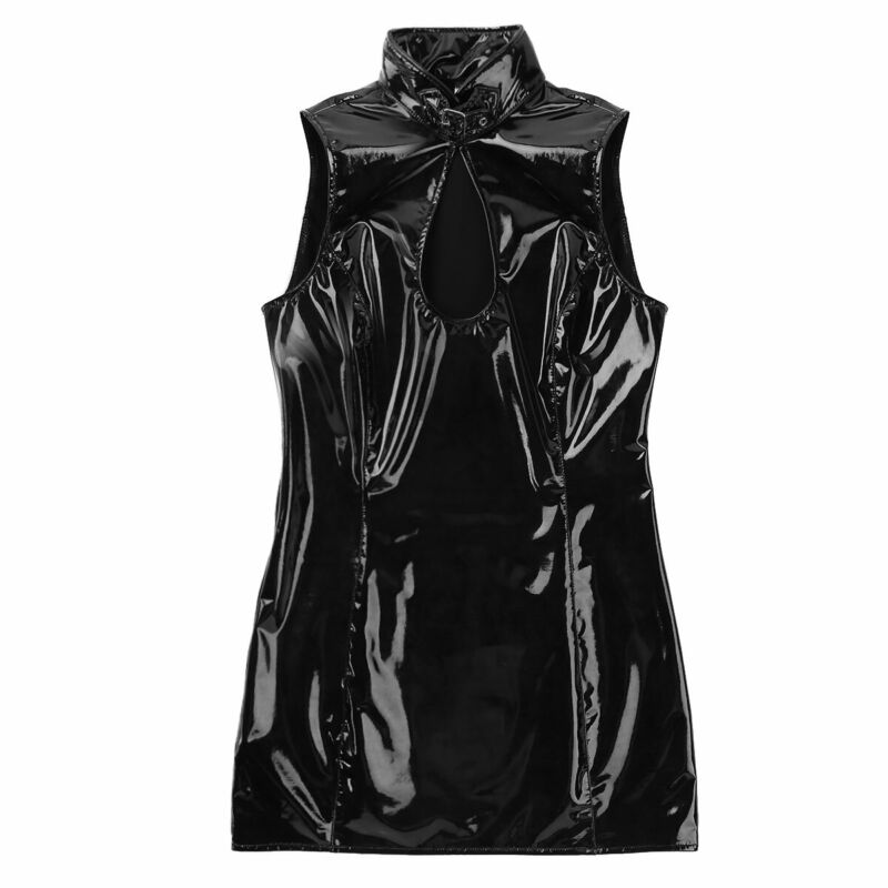 Damen Wetlook Bodycon Kleid Minikleid mit Stehkragen Leder-Optik Gogo Clubwear 6