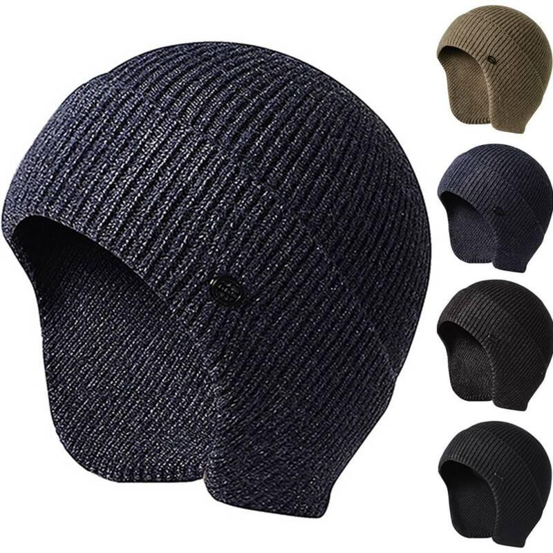 Uomo con Visiera Maglia Caldo Inverno Fodera Pile Cappello Berretto Paraorecchie 2