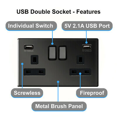 Double Wall Plug Socket 2 Gang 13A with 2 USB Ports Screwless Slim Flat Plate 9