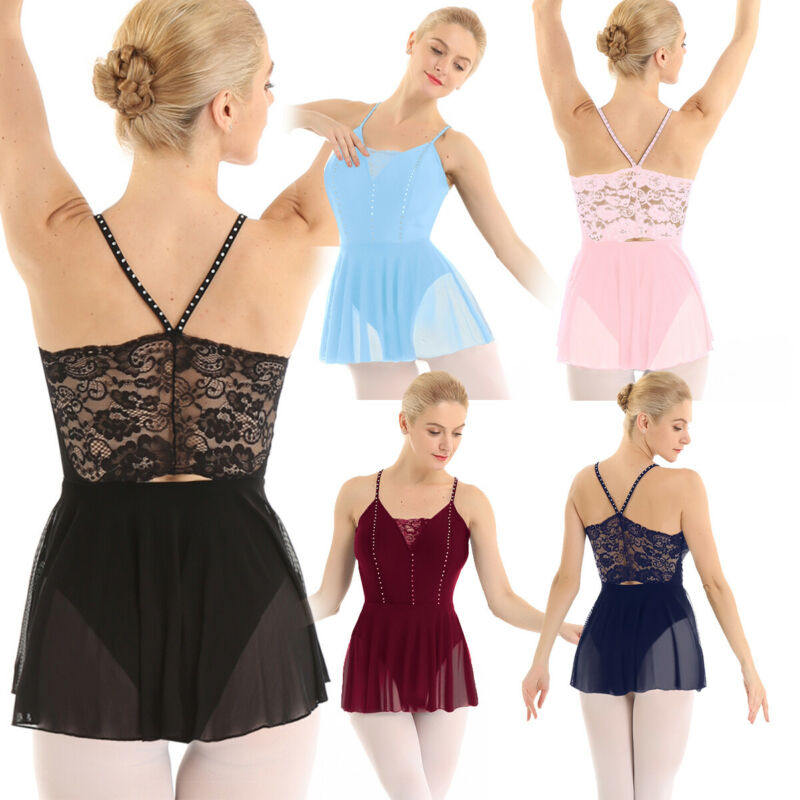 Frauen ärmelloses Mesh Tanzkleid Spaghettiträger Strasssteinen Ballett Kleider 2