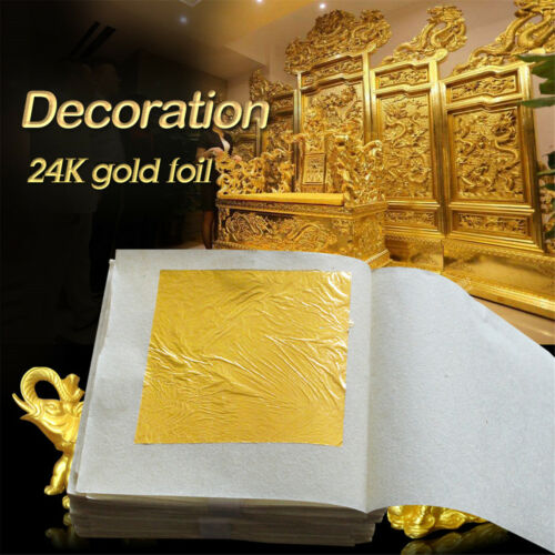 10pcs Pure 24K Edible Gold Leaf Sheets For Cooking Framing Art Craft Decorating 10