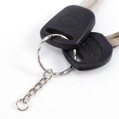 200Pc DIY 25mm Polished Silver Keyring Keychain Split Ring Short Chain Key Rings 12