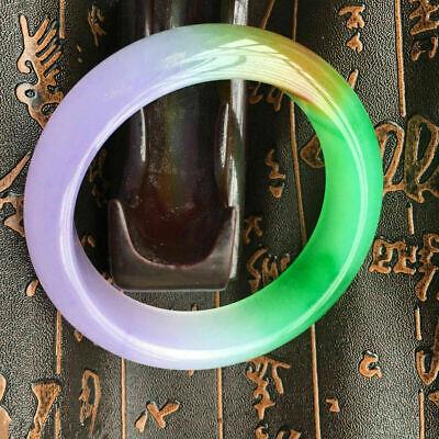 62MM NATURAL Purple YELLOW WHITE JADEITE JADE BRACELET BANGLE 3