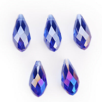 10pcs 10x20mm Charms Teardrop Faceted Pendant Glass Crystal Loose Beads Jewelry 5