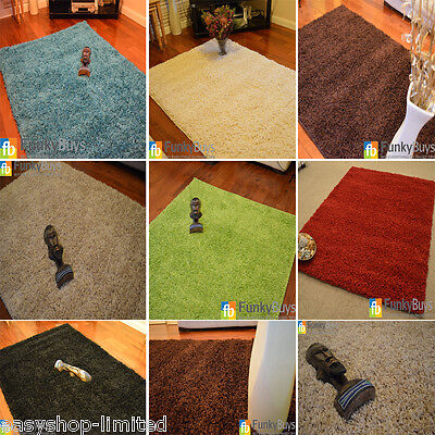 Small Large XL Size Thick Plain Soft Shaggy Rugs Non Shed Modern High Pile 2