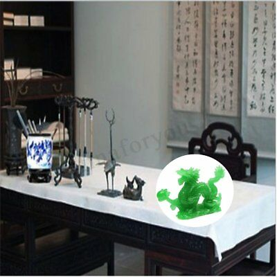 Green Jade Chinese Feng Shui Dragon Figurine Craft Statue for Luck & Success 2