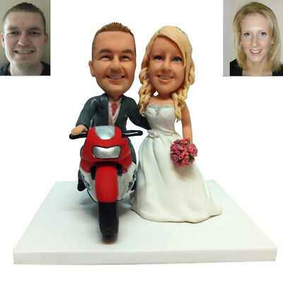 Bride and Groom Motorcycle Customized Wedding Cake Topper Handmade Wedding Gift