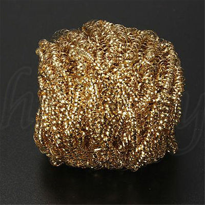 1pc Soldering Solder Iron Tip Cleaner Brass Cleaning Wire Sponge Ball Gold 4