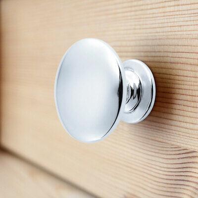 Silver Round Chrome Metal Door Knobs Drawer Wardrobe Kitchen Cupboard Handles Uk