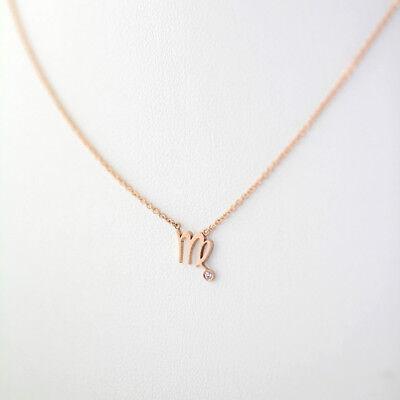 14K Solid Gold Virgo Zodiac Constellation Charm Pendant Diamond Necklace