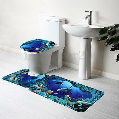 1 Of 9FREE Shipping 3Pcs Set Bathroom Non Slip Blue Sea Ocean Pedestal Rug Lid Toilet Cover