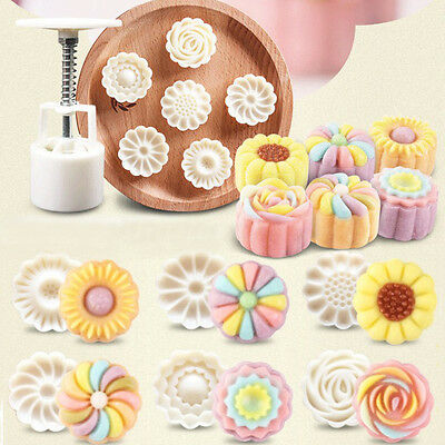 6 Style Stamps Round Flower Moon Cake Mold Mould White Set Mooncake Decor 50g 6