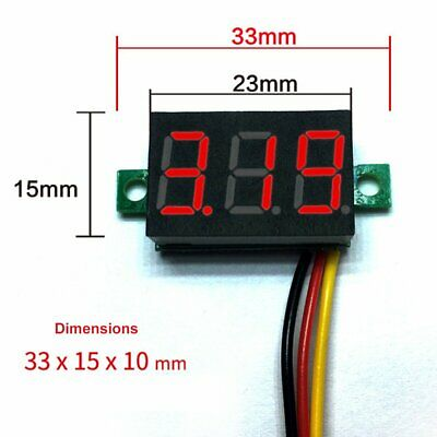 DC 0-100V Wires LED 3-Digital Mini Voltmeter Meter Display Voltage Panel Test 9