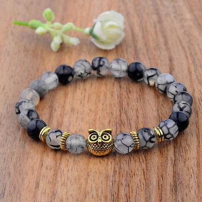 Men Women 8mm Natural Round Gemstone Bead Handmade Beads Bracelets Charm Jewelry 12