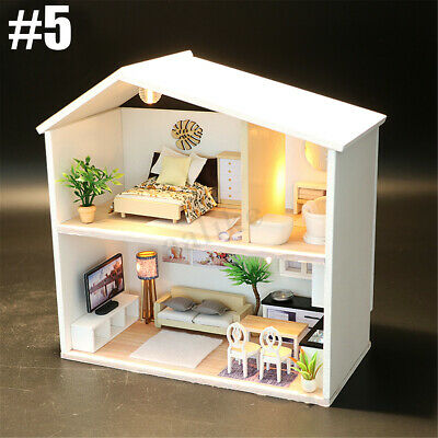 Mini DIY LED Wooden Dollhouse Miniature Wooden Furniture Kit Doll House 7