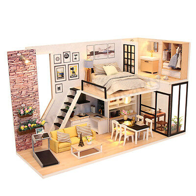 DIY LED Wooden Dollhouse Miniature Wooden Furniture Kit Doll House Kid's Toy AU 4