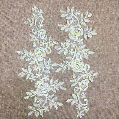 1 Pair Embroidery DIY Lace Applique Sewing Wedding Dress Trim Craft Patch Decor 6