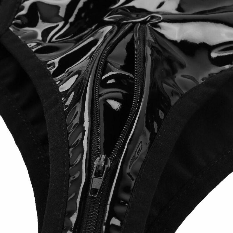 Damen Leder-Optik Ouvertslip Zip Hotpants Panty Unterwäsche mit Strumpfhalter 9