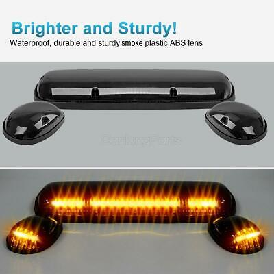 3PCS Smoke Cover Amber 30 LED Cab Roof Top Marker Lights for 02-07 Chevrolet//GMC