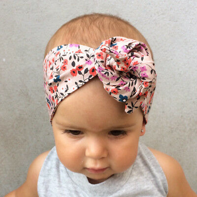 Baby Girls Floral Headwrap Top Knot Big Bow Turban Tie Headband Hair Accessories 11