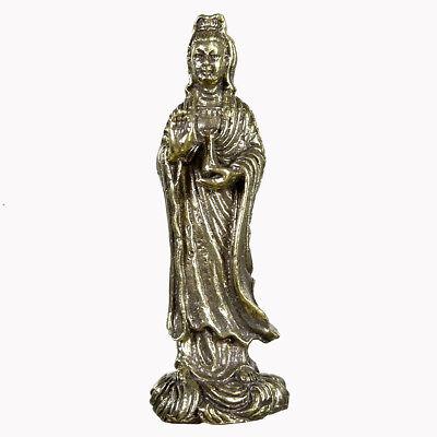 Brass Guan Yin Goddess Great Protection Thai China Amulet Wealth Talisman Lucky