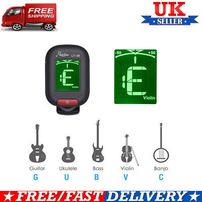 Chromatic Tuner - Clip-On Tuner - Guitar, Ukulele & Violin Electric Mini LCD UK 12