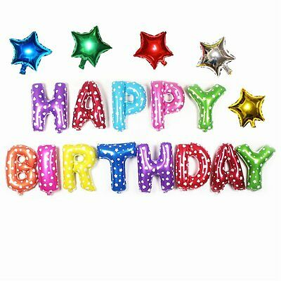 13Pcs HAPPY BIRTHDAY Letters Foil Balloons For Birthday Party Decoration